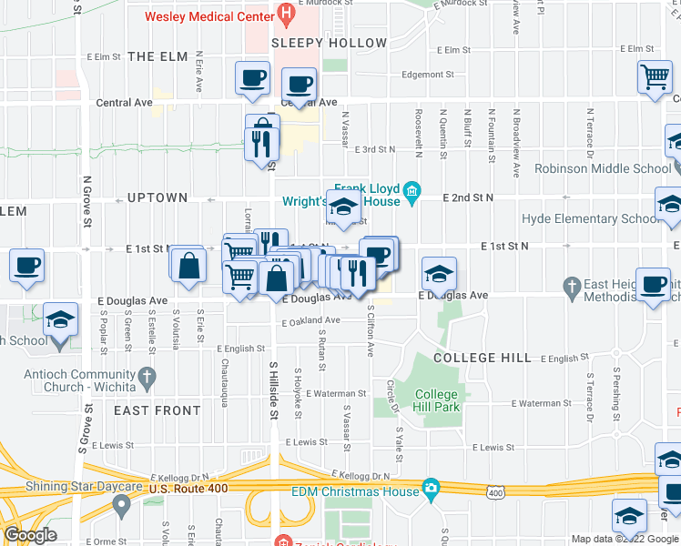 map of restaurants, bars, coffee shops, grocery stores, and more near 3310 Victor Place in Wichita