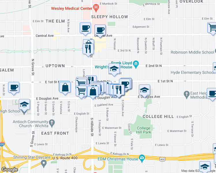 map of restaurants, bars, coffee shops, grocery stores, and more near 140 North Rutan Street in Wichita