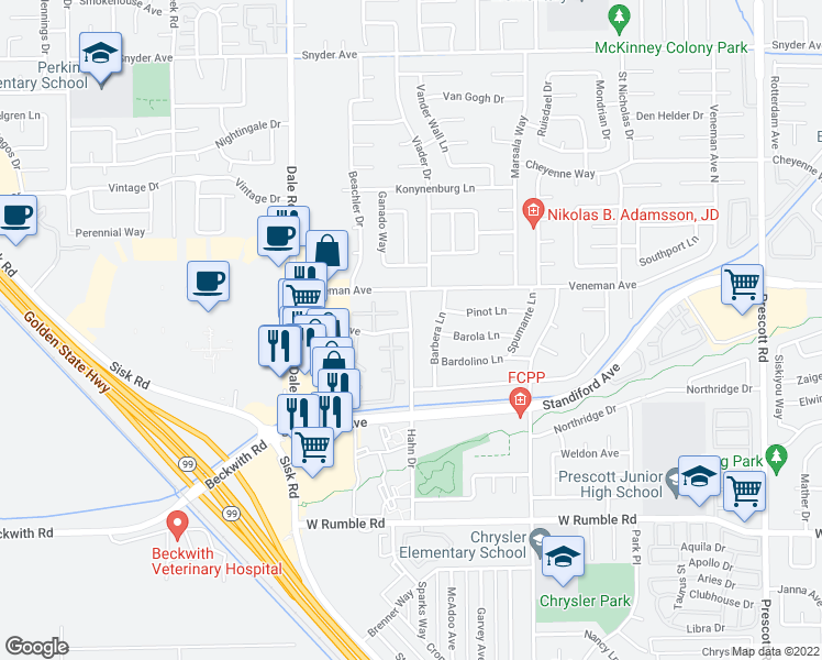 map of restaurants, bars, coffee shops, grocery stores, and more near Hahn Drive & Braden Avenue in Modesto