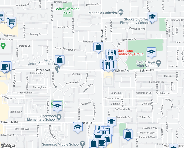 map of restaurants, bars, coffee shops, grocery stores, and more near 1100 Sylvan Avenue in Modesto