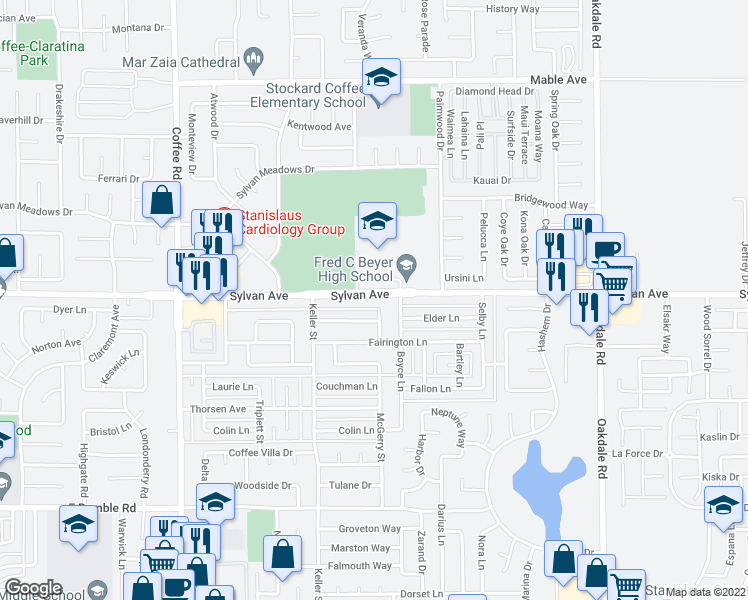 map of restaurants, bars, coffee shops, grocery stores, and more near 1716 Sylvan Avenue in Modesto