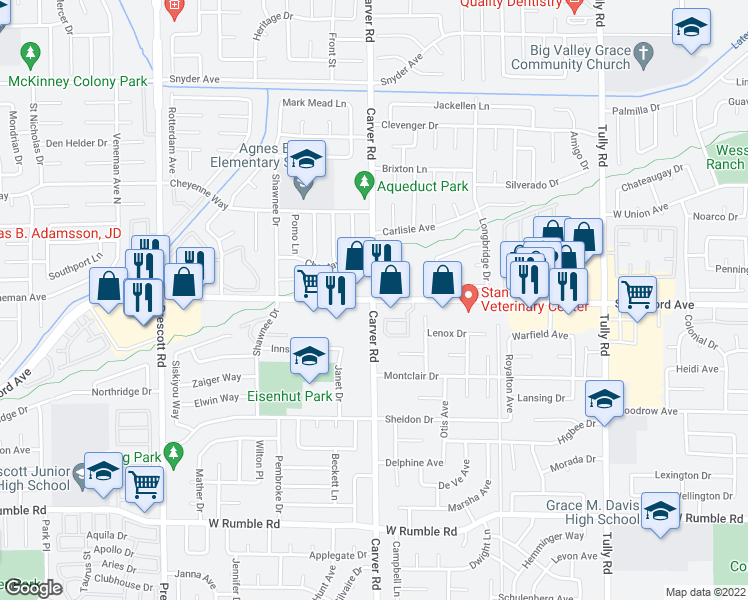 map of restaurants, bars, coffee shops, grocery stores, and more near Carver Road & Standiford Avenue in Modesto