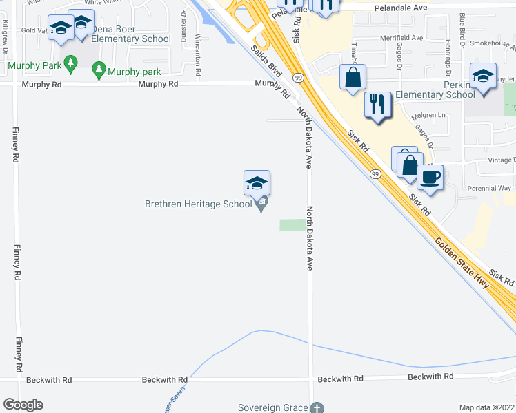 map of restaurants, bars, coffee shops, grocery stores, and more near 3549 North Dakota Avenue in Modesto