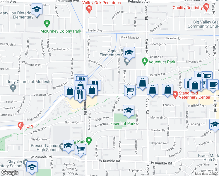 map of restaurants, bars, coffee shops, grocery stores, and more near 3600 Agate Drive in Modesto