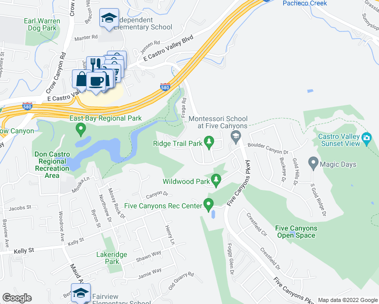 map of restaurants, bars, coffee shops, grocery stores, and more near 3719 Boulder Canyon Drive in Castro Valley