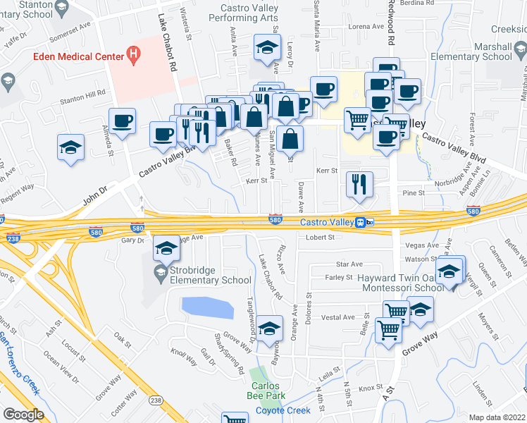 map of restaurants, bars, coffee shops, grocery stores, and more near 2824 Norbridge Avenue in Castro Valley
