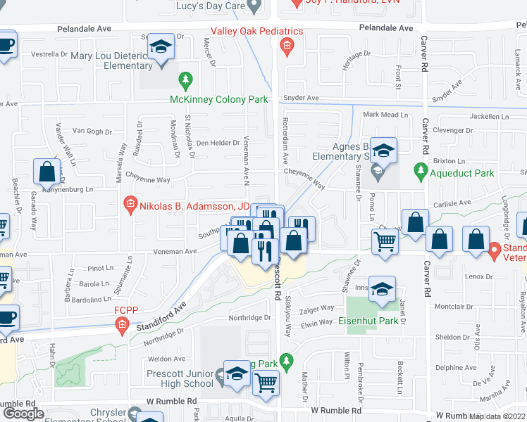 map of restaurants, bars, coffee shops, grocery stores, and more near 3601 Prescott Road in Modesto