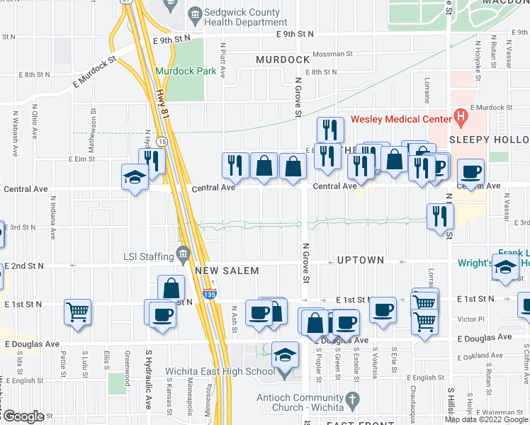 map of restaurants, bars, coffee shops, grocery stores, and more near 418 North Madison Avenue in Wichita