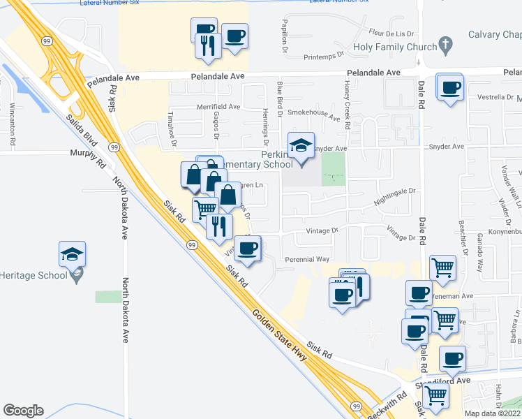 map of restaurants, bars, coffee shops, grocery stores, and more near 3408 George Avenue in Modesto