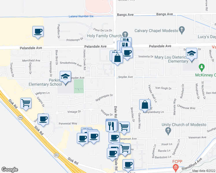 map of restaurants, bars, coffee shops, grocery stores, and more near 3941 Dale Road in Modesto