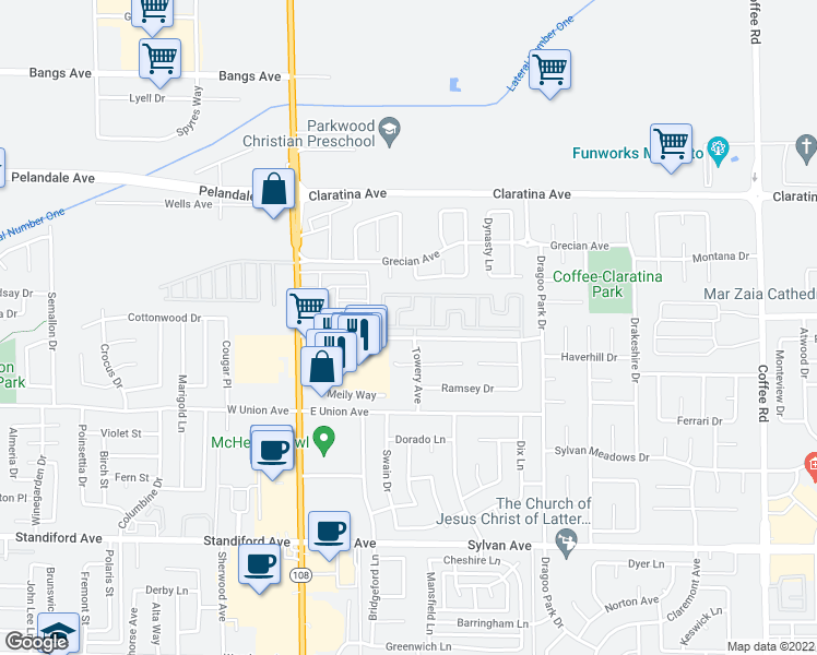 map of restaurants, bars, coffee shops, grocery stores, and more near 100-199 Ketch Lane in Modesto