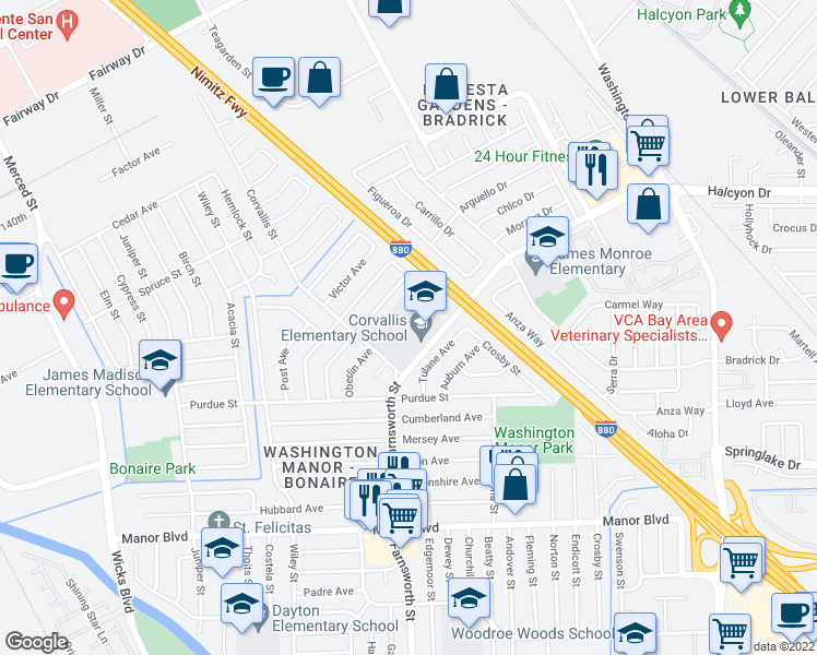 map of restaurants, bars, coffee shops, grocery stores, and more near 14743 Pepperdine Street in San Leandro