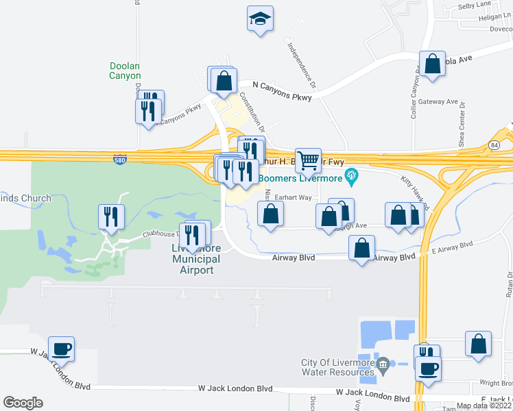 map of restaurants, bars, coffee shops, grocery stores, and more near 2380 Nissen Drive in Livermore