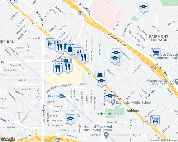 map of restaurants, bars, coffee shops, grocery stores, and more near E 14th St & Thrush Ave in Ashland