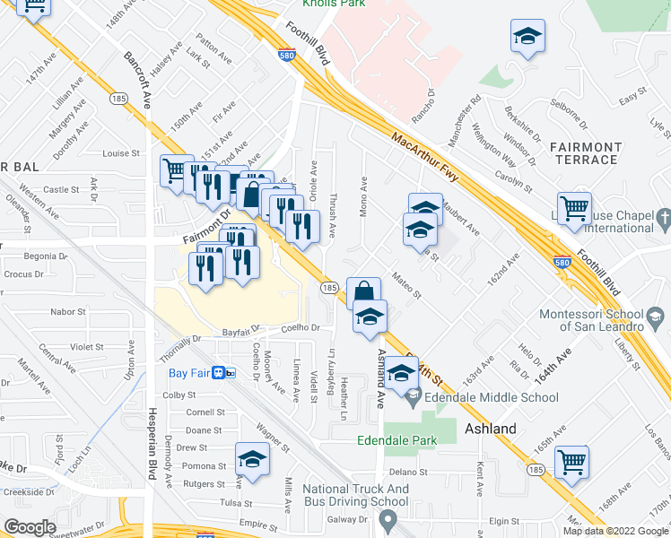 map of restaurants, bars, coffee shops, grocery stores, and more near 1410 Thrush Avenue in San Leandro