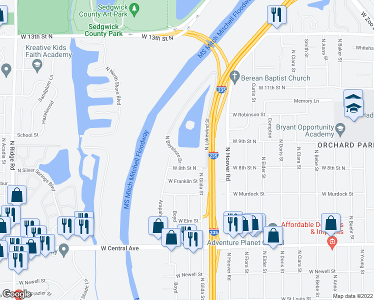 map of restaurants, bars, coffee shops, grocery stores, and more near 900 North Bayshore Drive in Wichita