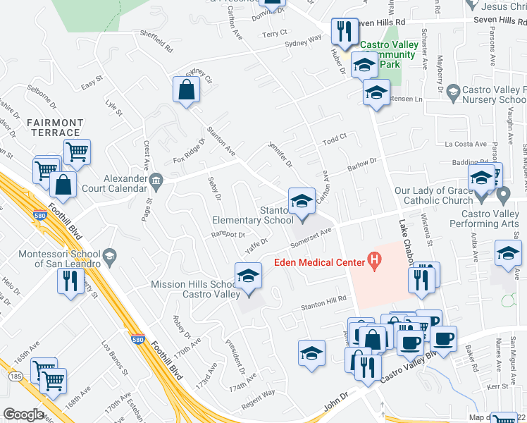 map of restaurants, bars, coffee shops, grocery stores, and more near 2617 Acorn Street in Castro Valley