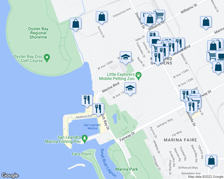 map of restaurants, bars, coffee shops, grocery stores, and more near 2712 Marina Boulevard in San Leandro