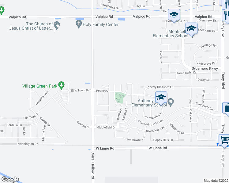 map of restaurants, bars, coffee shops, grocery stores, and more near Peony Dr & Maison Ct in Tracy