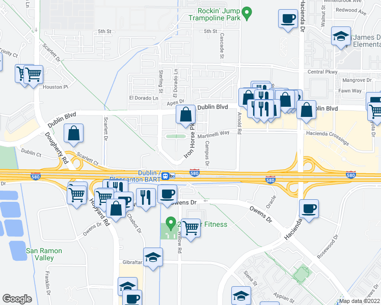 map of restaurants, bars, coffee shops, grocery stores, and more near 5325 Iron Horse Parkway in Pleasanton