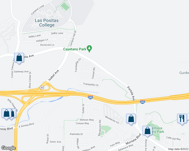 map of restaurants, bars, coffee shops, grocery stores, and more near 472 Persimmon Common in Livermore