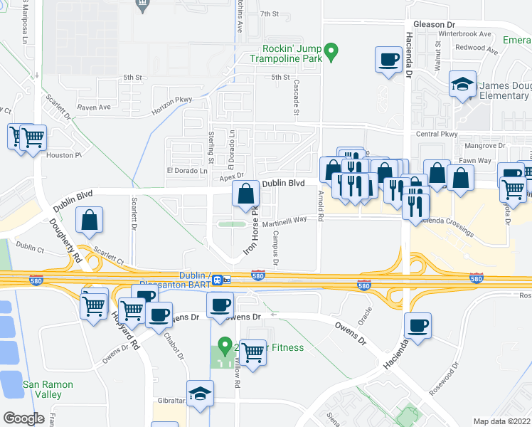 map of restaurants, bars, coffee shops, grocery stores, and more near 5265 Iron Horse Parkway in Dublin