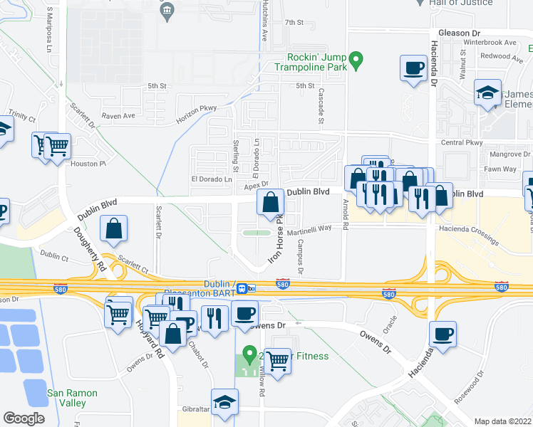 map of restaurants, bars, coffee shops, grocery stores, and more near 5300 Iron Horse Parkway in Dublin