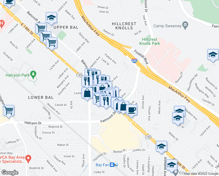 map of restaurants, bars, coffee shops, grocery stores, and more near 15083 Robin Street in San Leandro