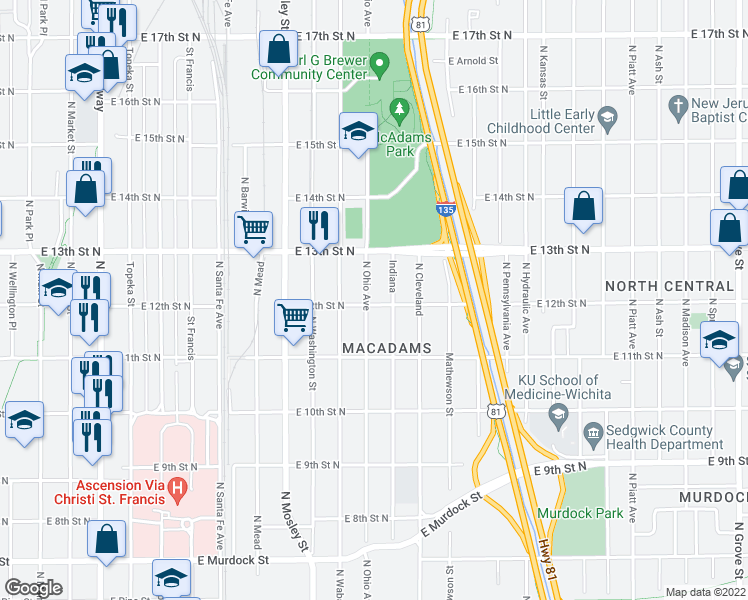 map of restaurants, bars, coffee shops, grocery stores, and more near 1302 North Ohio Avenue in Wichita