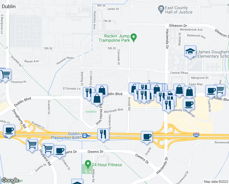 map of restaurants, bars, coffee shops, grocery stores, and more near 5578 Dublin Boulevard in Dublin