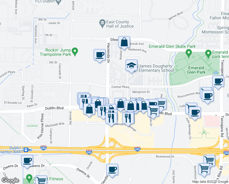 map of restaurants, bars, coffee shops, grocery stores, and more near 5080 Central Parkway in Dublin