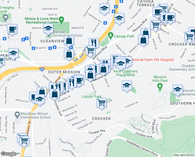 map of restaurants, bars, coffee shops, grocery stores, and more near 26 Balhi Court in San Francisco