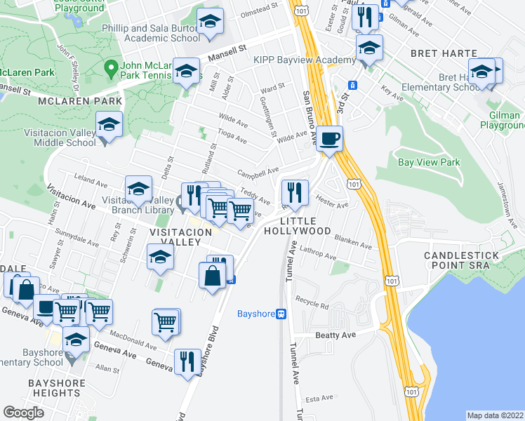 map of restaurants, bars, coffee shops, grocery stores, and more near 22 Arleta Avenue in San Francisco