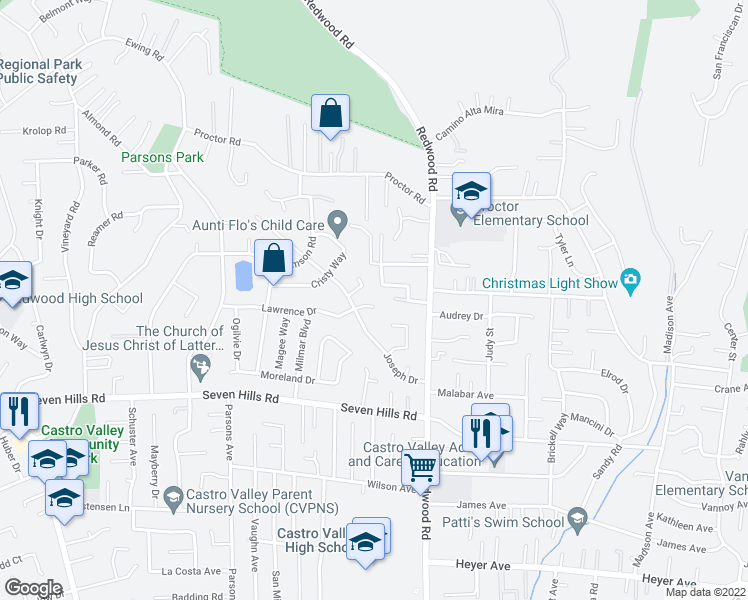 map of restaurants, bars, coffee shops, grocery stores, and more near 4622 Lawrence Drive in Castro Valley