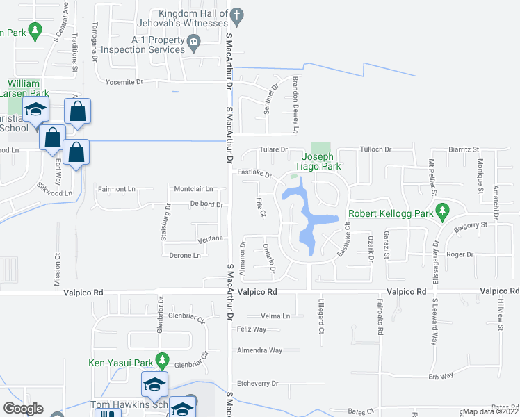 map of restaurants, bars, coffee shops, grocery stores, and more near Erie Court in Tracy