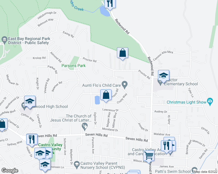 map of restaurants, bars, coffee shops, grocery stores, and more near 17942 Joseph Drive in Castro Valley