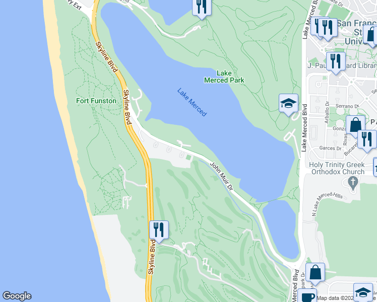 map of restaurants, bars, coffee shops, grocery stores, and more near 350 John Muir Drive in San Francisco