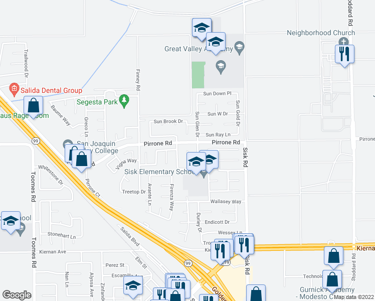 map of restaurants, bars, coffee shops, grocery stores, and more near Farmhouse Court in Salida