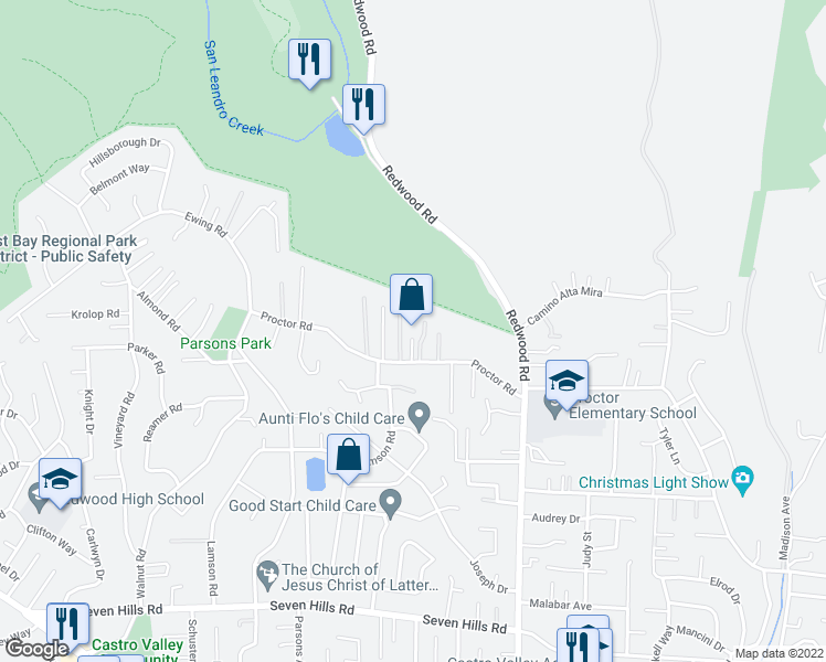 map of restaurants, bars, coffee shops, grocery stores, and more near in Castro Valley