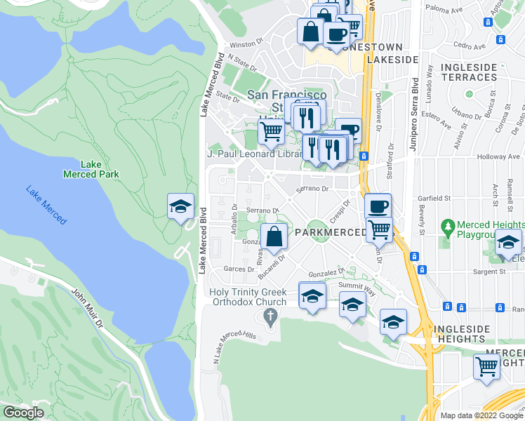 map of restaurants, bars, coffee shops, grocery stores, and more near Serrano Dr & Tapia Dr in San Francisco