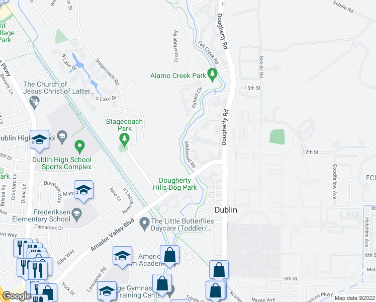 map of restaurants, bars, coffee shops, grocery stores, and more near Alamo Creek Trail in Dublin