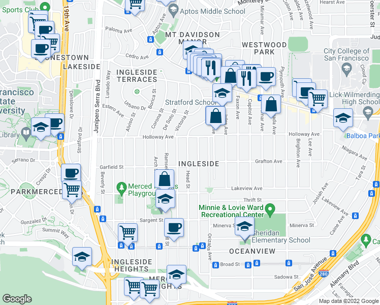 map of restaurants, bars, coffee shops, grocery stores, and more near 752 Head Street in San Francisco