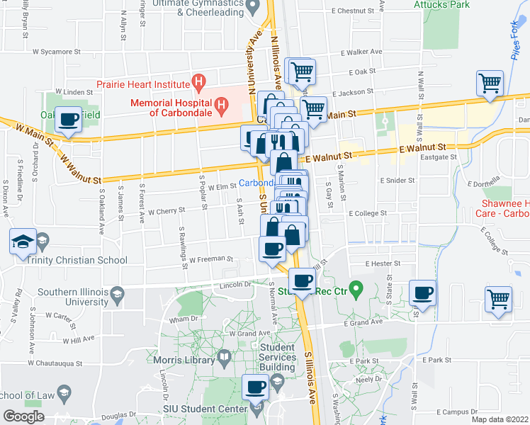 map of restaurants, bars, coffee shops, grocery stores, and more near 310 West Cherry Street in Carbondale