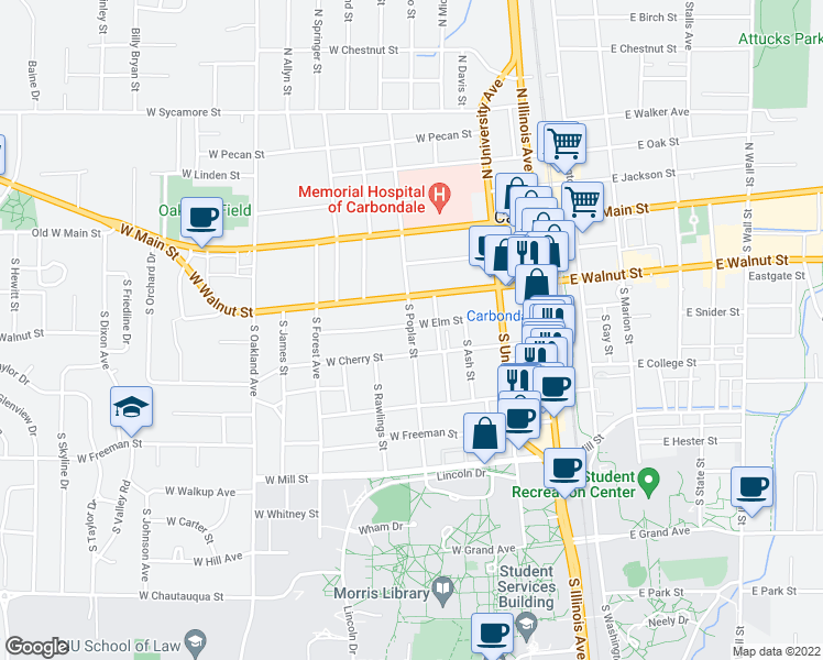 map of restaurants, bars, coffee shops, grocery stores, and more near 409 South Poplar Street in Carbondale