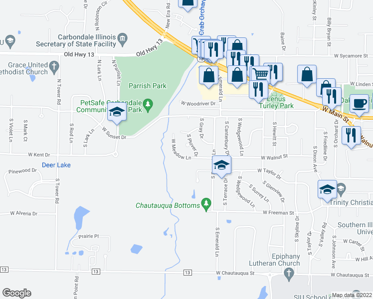 map of restaurants, bars, coffee shops, grocery stores, and more near 310 South Plover Drive in Carbondale