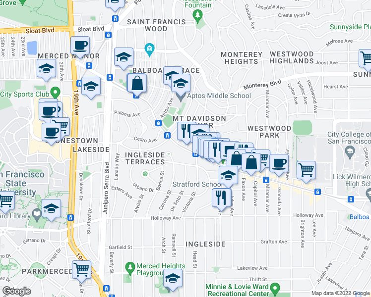 map of restaurants, bars, coffee shops, grocery stores, and more near Ocean Ave & Manor Dr in San Francisco