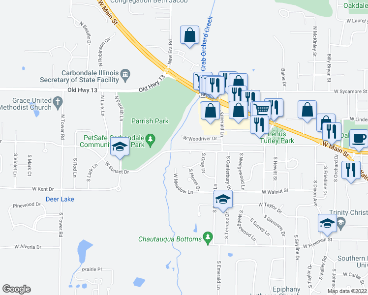 map of restaurants, bars, coffee shops, grocery stores, and more near 2108 West Sunset Drive in Carbondale