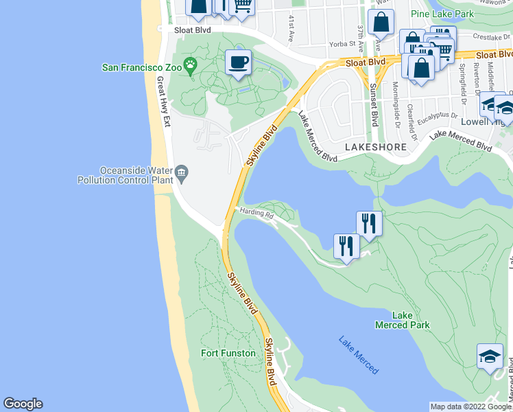 map of restaurants, bars, coffee shops, grocery stores, and more near 1 Harding Road in San Francisco