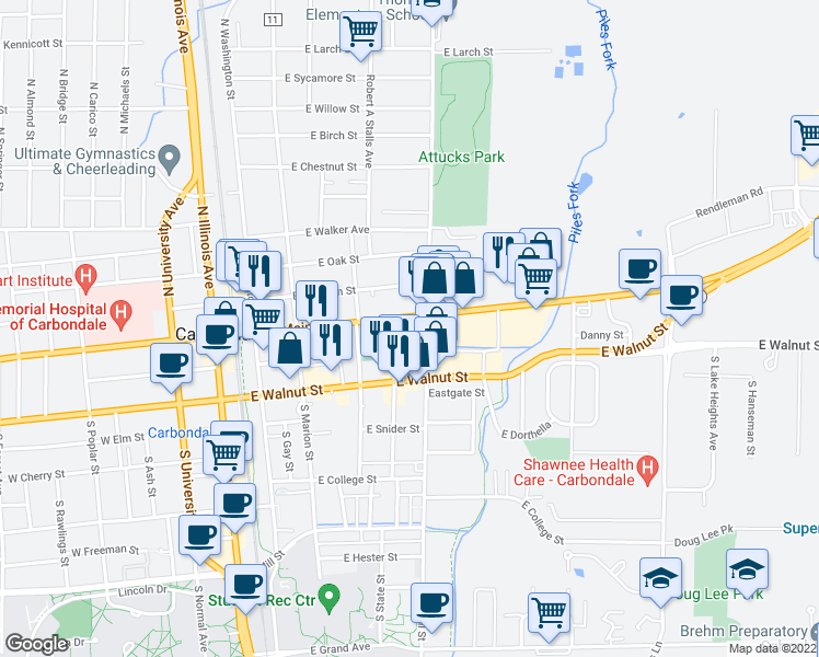map of restaurants, bars, coffee shops, grocery stores, and more near 417 East Main Street in Carbondale