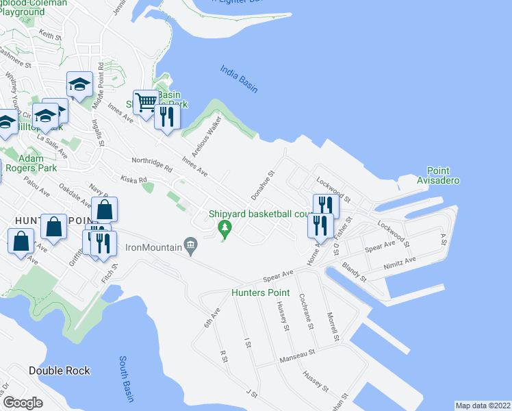 map of restaurants, bars, coffee shops, grocery stores, and more near 451 Donahue Street in San Francisco